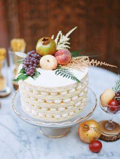 fruit adorned fall wedding cake   Photo: Landon Jacob