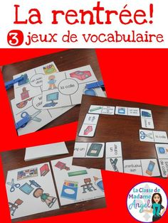 "Set of three fun vocabulary games!  Perfect for ""la rentrée"".  Students can play each game independently or in small groups.  Great practice for learning school vocabulary in French!"