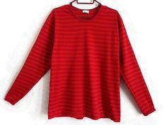 MARIMEKKO Orange & Red Nautical Shirt Striped Cotton Top Long Sleeves Finnish Clothing M Size Women's Shirt by Marimekko Cotton Clothing by Vintageby2sisters on Etsy