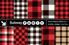 Vector Lumberjack Plaid Patterns (EPS, Ai) by SubwayParty on Creative Market