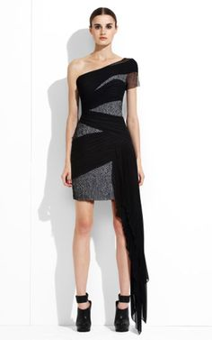 BCBG MaxAzria Runway One-Shoulder Pleated Overlay Dress [Tory Burch Outlet 1149] - $129.00 : Cheap Herve Leger Dresses On Sale 2013 With Discount Price