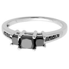 Elora Sterling Silver 1 1/4ct TDW Princess and Round Black Diamond 3-stone Engagement Ring (Size 9), Women's (solid)