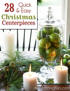 28 Quick & Easy Christmas Centerpiece Ideas | Decorating Files | #Christmascenterpieceideas #Christmas