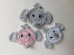 PDF Instant Download Easy Crochet Pattern No 126 Elephant Crochet Applique Easy Crochet Patterns, Crochet Motif, Crochet Hook Sizes, Crochet Hooks, Nose Warmer, Crochet Elephant, Kids Blankets, Photo Tutorial, Crochet Necklace