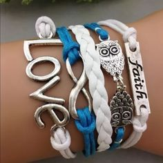 Love faith owl blue white faith infinity bracelet Infinity bracelet as pictured colors May look different on bracelet than picture shows. Sometimes it is hard to get an accurate picture. Bundle with another bracelet 2/$12. The other picture is an example of what the back looks like Jewelry Bracelets