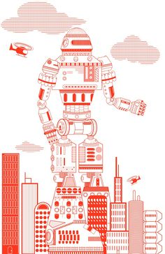 Red Robot in the Big City by The Daily Robot / Miles Donovan, via Etsy.
