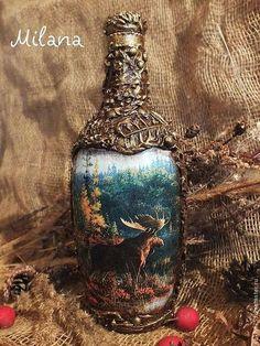 """Подарочное оформление бутылок ручной работы. Ярмарка Мастеров - ручная работа """"Любимому охотнику!"""" Бутылка. Прямой и обратный декупаж.. Handmade."""