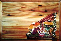 A Rumah Kreatif / Yucca Rose Project - Hand-painted wooden Tea-boxes - this box is Street Corner Tea Shop - acrylic paint on wood (Top view).Part of a new series of wooden tea-boxes in various sizes by Rumah Kreatif (Creative House), my artisan workshop in Tanah Baru - the boxes are on display and for sale at our Family Restaurant and Art Gallery Inns Resto in Cilandak, Jakarta Selatan - Java Indonesia.