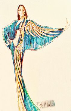 Bob Mackie gown sketch for Cher 1973
