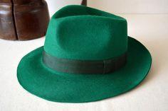 Spring Green Fedora Fur Felt Handblocked Teardrop by HatsNCompany