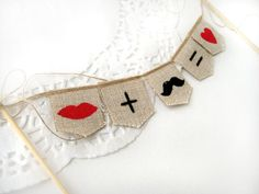 Mustache and Lips  Wedding Cake Topper Banner.