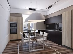 Two Apartments With Sleek Grayscale Interiors Kitchen Dinning Room, Condo Kitchen, Dining Room Design, Kitchen Interior, Home Interior Design, Küchen Design, House Design, Minimalist Dining Room, Dinner Room