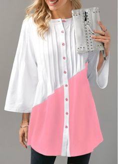 Pink Three Quarter Sleeve Button Up Blouse