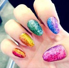 Demi Lovato's glittery rainbow nail art