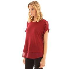 Pimkie.es : Encaje y gasa: esta camiseta apuesta por unos toques de tejidos delicados.