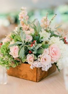 Garden Inspired Wooden Box Centerpiece