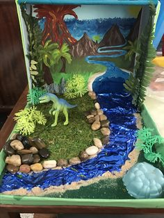 Dinosaur diorama An old shoe box, a painting for the background on acrylic paper, and a few supplies from the dollar store, lots of glue and voila!