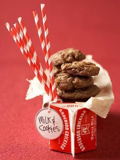 Pair our Classic Double-Chocolate Chip Cookies with their best friend -- milk!  http://www.bhg.com/christmas/cookies/delightful-christmas-cookie-gifts/?socsrc=bhgpin101414papermilkcarton&page=8