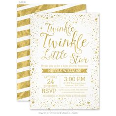 Hey i found this really awesome etsy listing at httpsetsy gold twinkle twinkle little star themed baby shower invitations filmwisefo Gallery