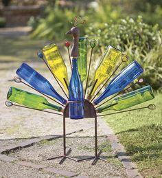 Solar Peacock Bottle Metal Yard Art: Make with rebar and bottles