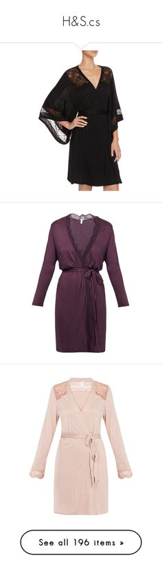 """H&S.cs"" by duchessq ❤ liked on Polyvore featuring intimates, robes, black, eberjey robe, bath robes, eberjey, dressing gown, purple, purple dressing gown and purple robe"