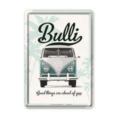 Verschick doch mal eine Blechpostkarte, die an das Lebensgefühl der 60er und 70er Jahre erinnert. Als man seinen VW Bulli mit dem Surfbrett auf dem...