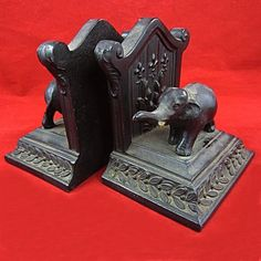 Antique/Vintage Ronson All Metal Art Wares Elephant Bookends