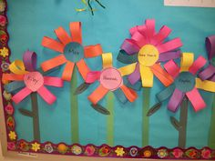 Friendship flowers- each child cut their color of strips and then traded their color for their friends color.  Then they put their flowers together!