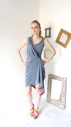 grey drape short dress for summers