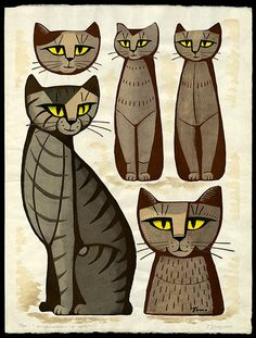 "Tomoo Inagaki (Japan, 1902-1980) - ""Composition of Cats"", 1966 - Woodblock print"