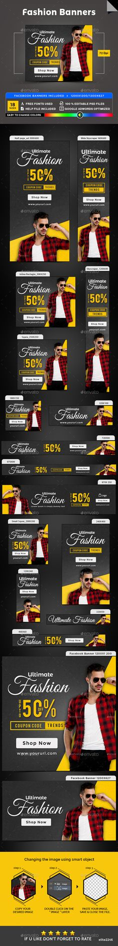 Fashion Banners — Photoshop PSD #business #retargeting • Available here → https://graphicriver.net/item/fashion-banners/19879935?ref=pxcr