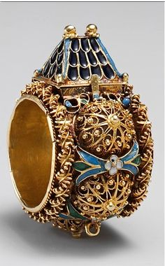 JEWISH GOLD AND ENAMEL BETROTHAL RING~ 17th - 19th century, Jewish betrothal ring, Eastern Europe