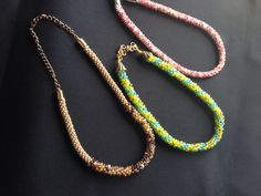 3 fun Kumihimo necklaces  !!!!!!!!!!!!!!!!!!!!!! ONE USES CHAIN TO FINISH OFF !!!!!!!!!!!!!!!!!!!