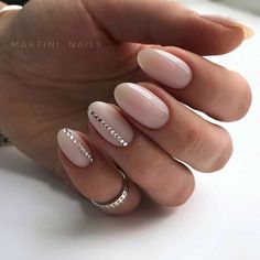 nude nails w line of rhinestones on 2 accent nails easy nailart manicure martini nails Wedding Nails For Bride, Bride Nails, Wedding Nails Design, Nail Design, Wedding Makeup, Almond Shape Nails, Almond Nails, Solid Color Nails, Nail Colors