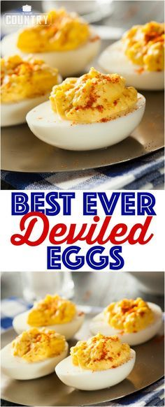 The best ever deviled eggs These classic, best ever deviled eggs are a must serve every holiday or cookout. Plus, an easy tip and shortcut for perfect hard-boiled eggs every time! - The Best Ever Deviled Eggs recipe from The Country Cook Best Deviled Egg Recipe Ever, Best Deviled Eggs, Perfect Deviled Eggs, Develed Egg Recipe, Deviled Eggs Recipe With Vinegar, Classic Deviled Eggs, Best Recipe Ever, Sweet Deviled Eggs Recipe, Snacks