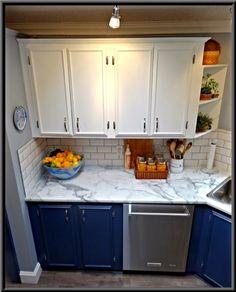 See how Vestabul helped some industrious DIY Downsizers transform their kitchen. Prep Kitchen, Updated Kitchen, Food Preparation, Kitchen Cabinets, Kitchens, Design, Home Decor, Decoration Home, Room Decor