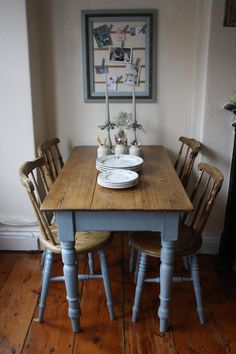Restored Rustic Vintage Pine Table with Turned by ArthurandEde