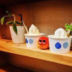 Ice cream day! #mizumushikun #icecream #sweets #yummy #cute #nature #yogurt #foodie #food #fruit #white #kawaii #character #funny #fun