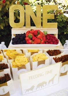 food display-the white paper bags- green stripe instead with different animals that are featured on the invite