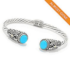 158 915 Silver By Samuel B 18k Gold Accented 7 Turquoise Cable Bangle