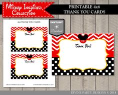 INSTANT DOWNLOAD Mickey Mouse Inspired 4x6 Thank You Cards by DivinePartyDesign. Birthday Party Printables.
