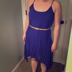 American Rag beautiful purple-blue sheer dress Short blue slip with long textured sheer dress. Longer on the sides (a bit below the knee) and shorter in the front and back (a bit above the knee). Great mixture of fitted and flowy. Can dress up or casually. American Rag Dresses Midi