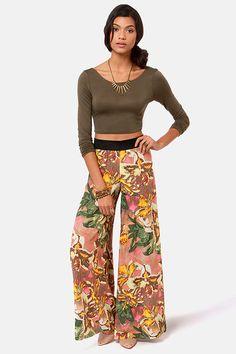 BB Dakota Chase Pants - Floral Print Pants - Wide-Leg Pants - $75.00