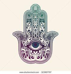 Hamsa or hand of Fatima, good luck charm, vector illustration - stock vector