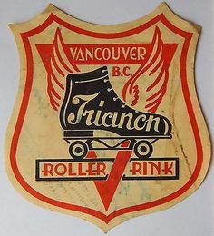 Vtg TRIANON Roller Rink Decal VANCOUVER, B.C. Old Skating Label