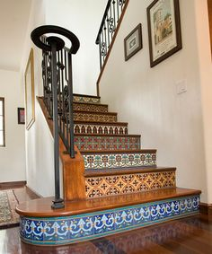 I love my staircases, but this one is so amazing & absolutely takes the cake... mosaic tile staircase.... wow!!