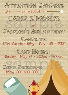 DIY Printable Camping Birthday  Invitation by EllieBlueDesigns, $14.00