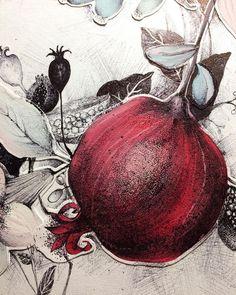Botanical Drawings, Botanical Art, Botanical Illustration, Illustration Art, Illustrations, Flowers Wallpaper, Poster Photo, Pomegranate Art, Art Watercolor