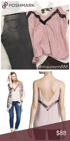 """Lovers + Friends """"Last Goodbye"""" Lovers + Friends crepe cami with sheer black lace accent featuring: • V neckline and back. • Sleeveless; thin straps. • Relaxed silhouette. • Pullover style. • Viscose/Nylon/Rayon. Lovers + Friends Tops Camisoles"""