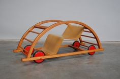 kids toy car / chair was designed by Hans Brockhage under supervision of Mart Stam in Germany 1950 Toy Cars For Kids, Kids Toys, Hanging Hammock Chair, Car Chair, Modern Toys, Kids Swing, Kids Furniture, Vintage Furniture, Rocking Chair
